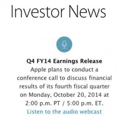 20 Oktober, Apple Umumkan Laba Q42014